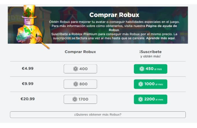 Cómo comprar Robux en Roblox.