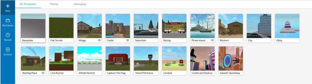 Todas las plantillas de inicio al crear un juego con Roblox Studio.