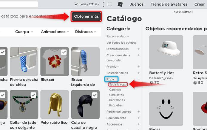 Catálogo de ropa y accesorios para Roblox.