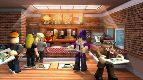 Work at a pizza place, juego de roblox.